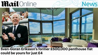 News article showing sven-goran eriksson and the luxury Riverside Penthouse development he lived in.  Blue Sky reflecting off the River Trent, and green grass and trees. Win a riverside penthouse competition