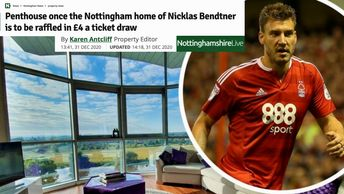 News article showing Nicklas Bendtner and the luxury Riverside Penthouse development he lived in.  Blue Sky reflecting off the River Trent, and green grass and trees. Win a riverside penthouse competition